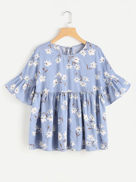 Blue Floral Print Fluted Sleeve Tie Back Smock Top