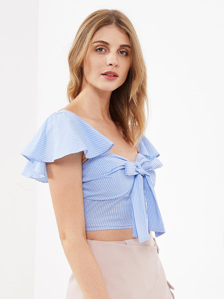 Blue Pinstripe Flutter Sleeve Smocked Bustier Top