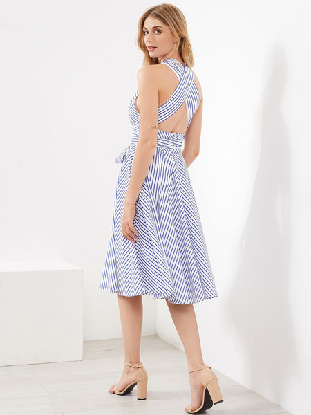 Blue Striped Crossover Sleeveless Halter With Self Tie Midi Dress