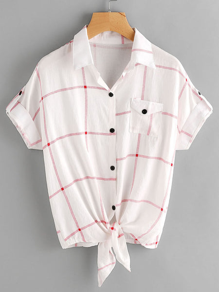 White Knot Front Checkered Cuffed Sleeve Chest Pocket Shirt