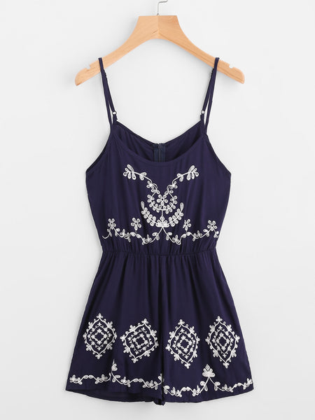Navy Flower Embroidered Sleeveless Cami Romper with Zipper Back