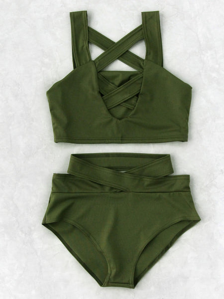 Green High Waist No Pad Criss Cross Front Bikini Set