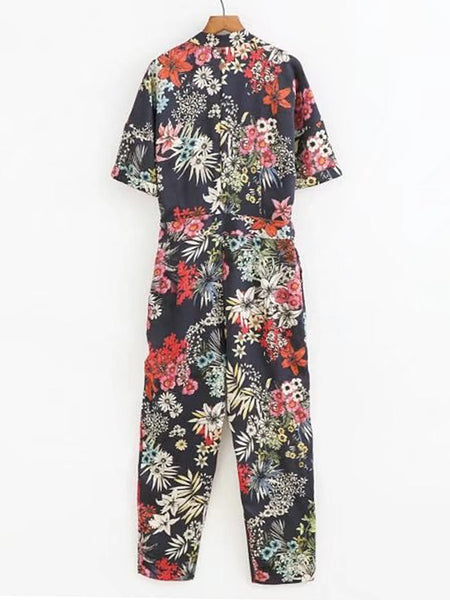 Multicolor Floral Print Short Sleeve V-Neck With Collar Jumpsuit With Self Tie