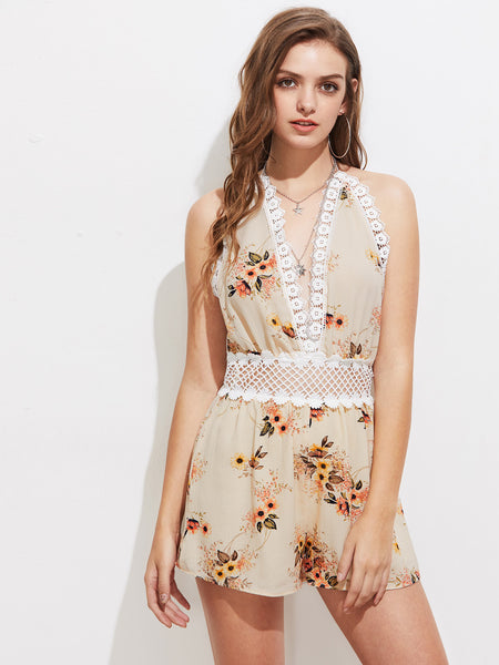 Apricot Floral Plunging V-Neck Sleeveless Sexy Back Playsuit