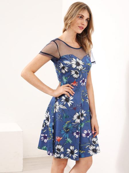 Blue Floral Print Round Neck Mesh Skater Dress