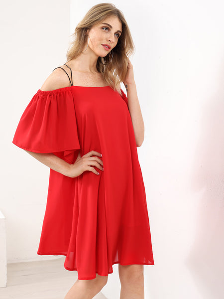Plain Red Cold Shoulder Strappy Back Layered Dress