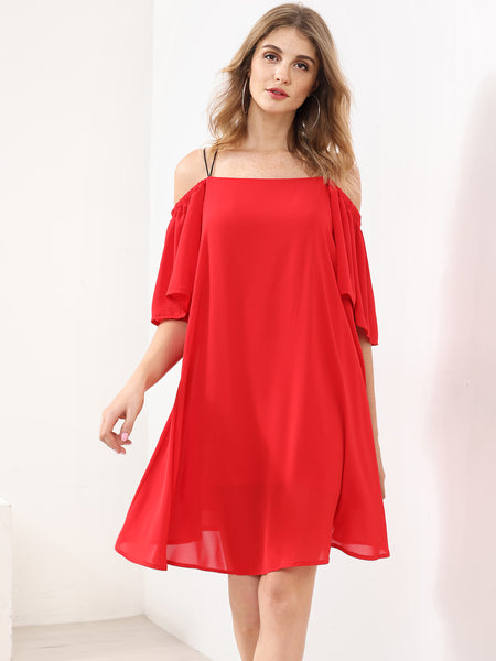 c5eec3c343b77 Plain Red Cold Shoulder Strappy Back Layered Dress – Lyfie