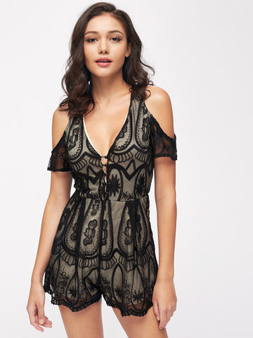 efd9697a060 Black Embroidered Mesh Overlay Plunging V-Neck Cold Shoulder Short Sleeve  Playsuit