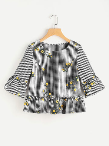 Black Checkered Floral Print Ruffle Sleeve Top