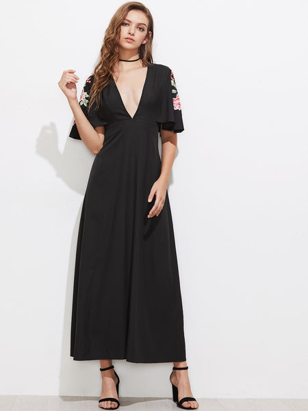 Black Floral Embroidery Half Sleeve Flutter Deep V-Neck Plunging Maxi Dress