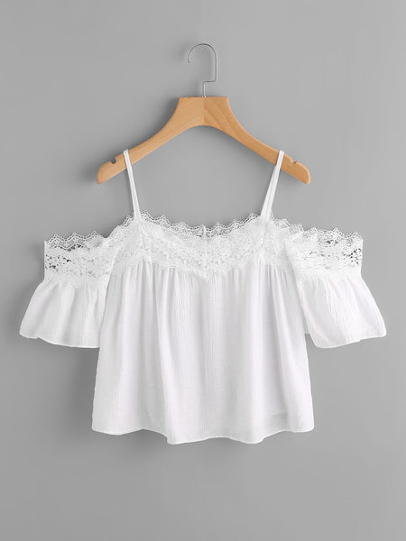 White Cold Shoulder Lace Trim Spaghetti Strap Blouse