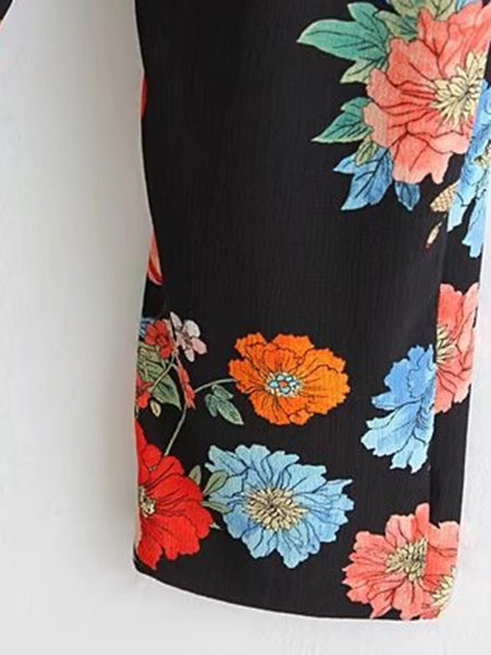 Black Floral Print Short Sleeve Open Shoulder Jumpsuit
