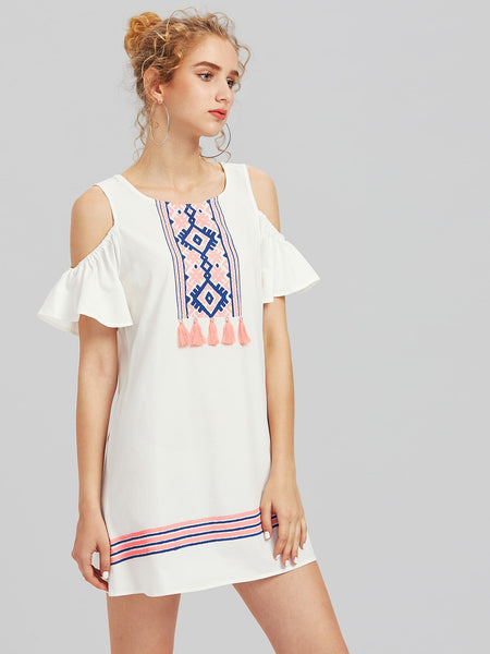 White Shoulder Tropical Embroidery Long Sleeve Shirt Dress