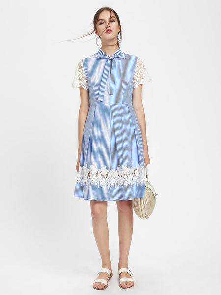 Blue Striped Lace Detail Sleeve And Skirt Bow Tie Neck Box Pleated Mini Dress