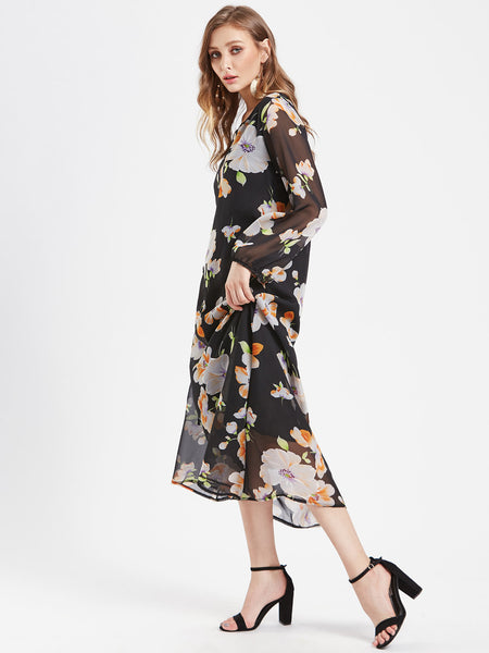 Black Floral Print Long Sleeve Maxi Dress