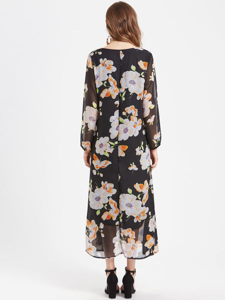 95e24ee966a Black Floral Print Long Sleeve Maxi Dress – Lyfie