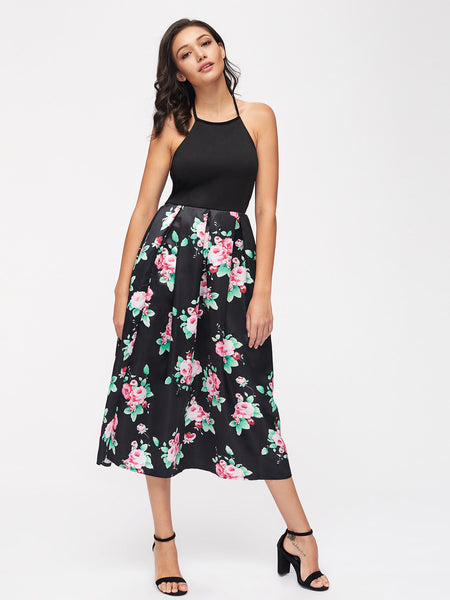 Black Sleeveless Halter Backless Floral Skirt Midi Dress