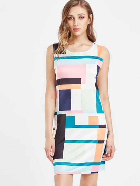Multicolor Patchwork Sleeveless A Line Dress