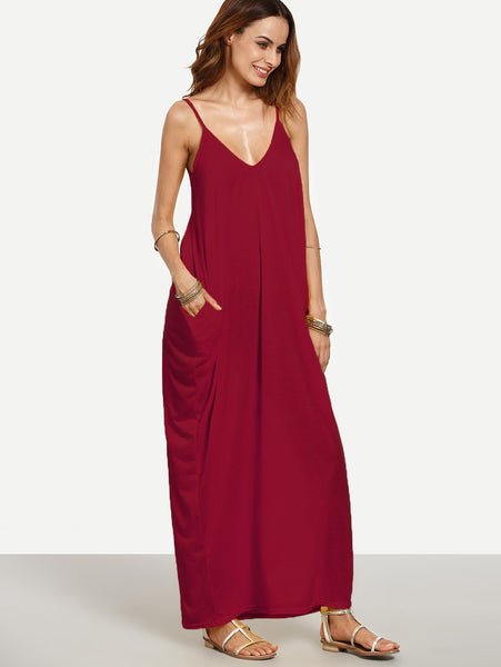 Burgundy Plain V-Neckline Sleeveless Cocoon Cami Dress