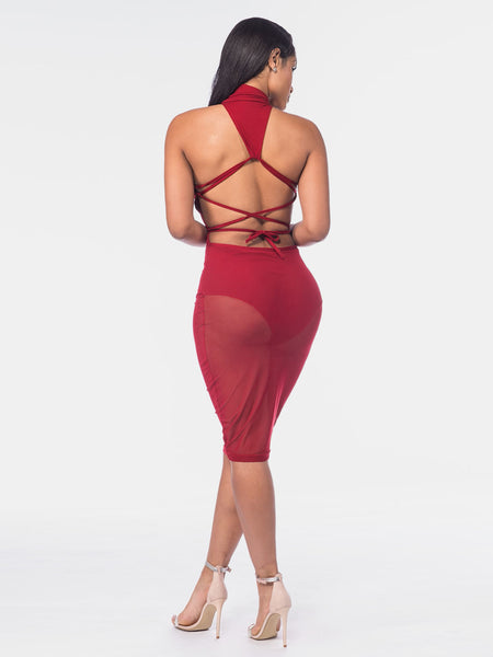 Burgundy High Neck Lace Up Open Back Sheer Bodysuit Dress