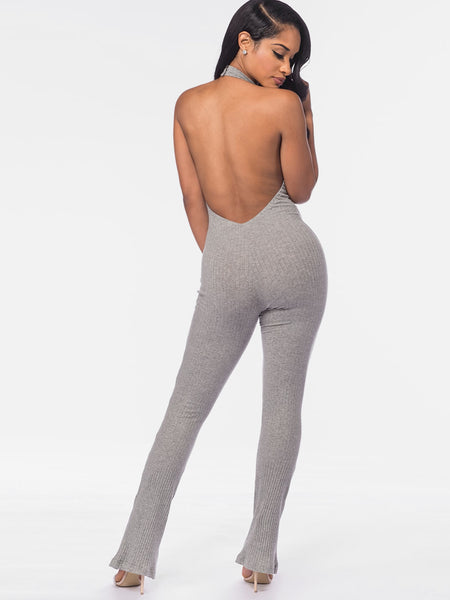Grey Backless Halter Sleeveless Plain Marled Ribbed Knit Catsuit