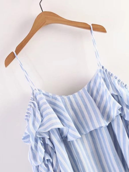 Blue Vertical Striped Cold Shoulder Bishop Sleeve Top