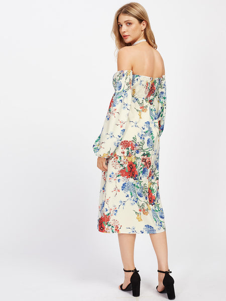 White Floral Off Shoulder Lantern Sleeve Midi Dress