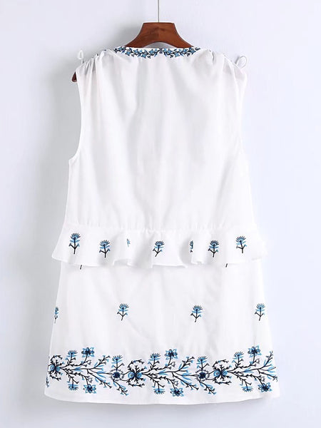 White Embroidered V-Neck Ruffle Trim Lace Up Detail Dress