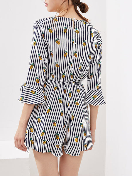 Black Stripe Pineapple Print 3/4 Sleeve V-Neck Buttons Back Surplice  Romper