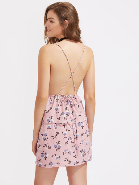 Pink Floral Print Sleeveless Cami Straps V-Neck Ruffle Trim Playsuit