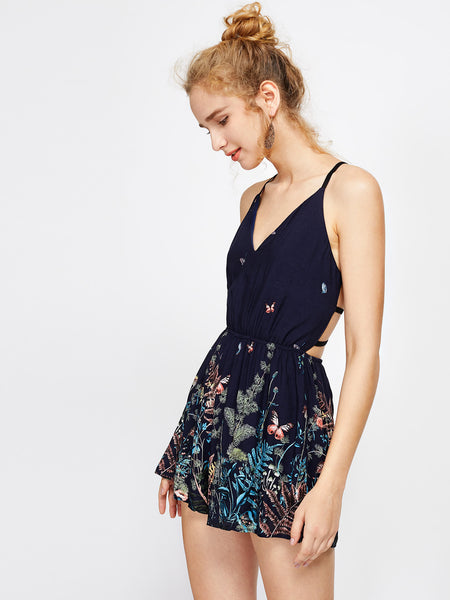 Navy Floral Print Sleeveless Cami Straps V-Neck Caged Back Playsuit