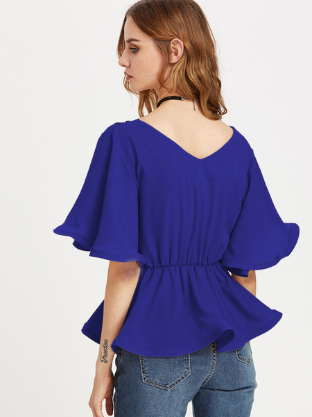 Blue Self Tie Flutter Sleeve Wrap Top