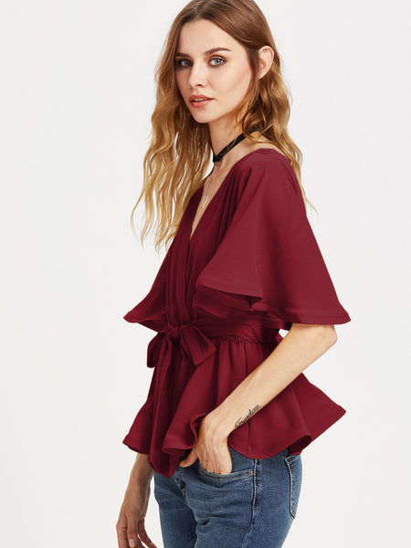 Burgundy Elastic Belted Flutter Sleeve Wrap Top