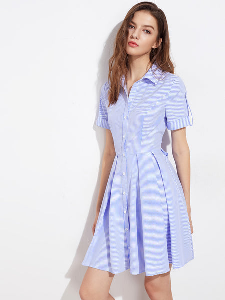 Blue Striped Short Sleeve A Line Lapel Roll Tab Cuffed Sleeve Mini Dress
