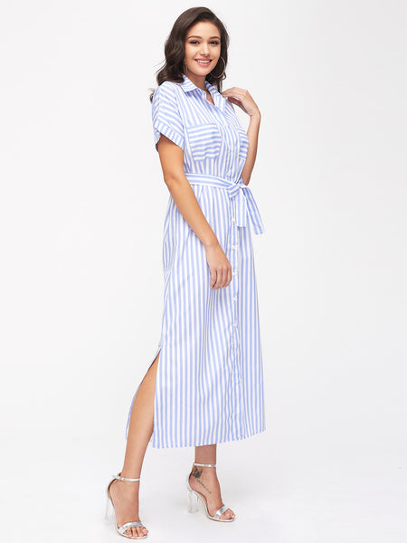 Blue Stripe Button Front Self Tie Chest Pocket Long Dress