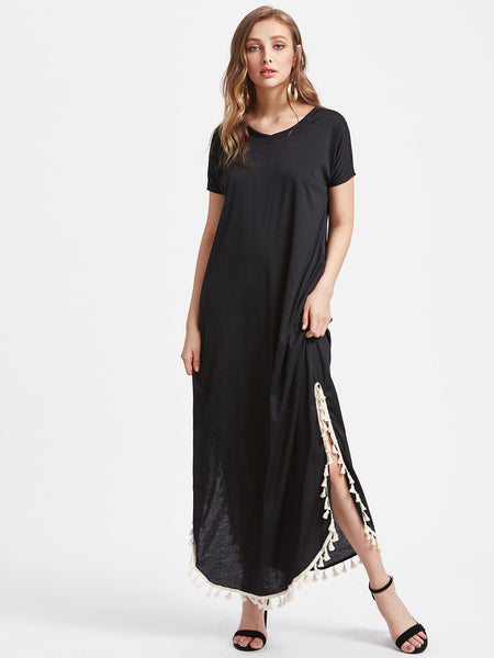 Black Round Neck Tassel Trim Side Split Pocket Curved Hem Maxi Dress