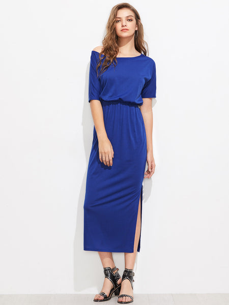 Blue Asymmetric Shoulder Short Sleeve Side Pocket Slit Elastic Waist Dress