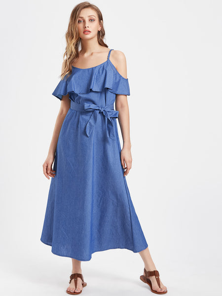 Blue Layered Open Shoulder Self Tie A Line Maxi Dress