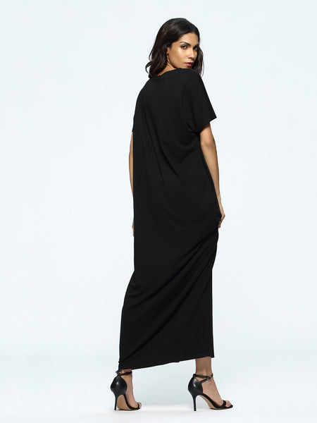 Black Slogan Print Round Neck Maxi Dress
