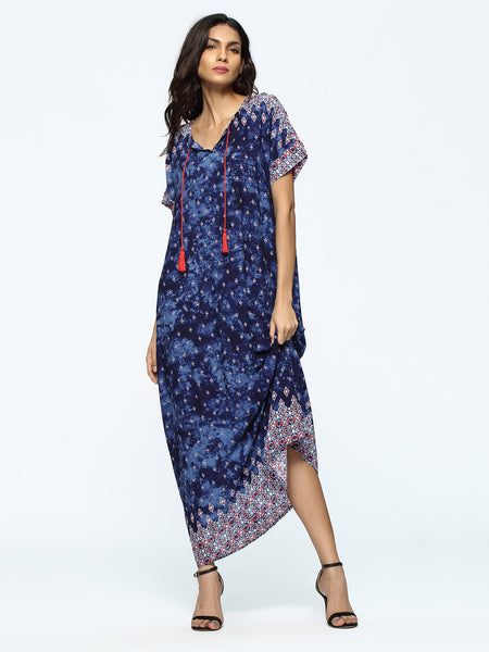 Navy Geo Print Tassel Tie Short Sleeve Maxi Dress