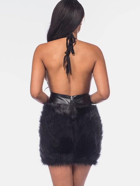 Black Halter Plunge V-Neck Faux Fur Panel Backless Mini Dress