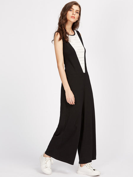 Black Sleeveless Round Neck Keyhole Back Wide Leg Jumpsuit