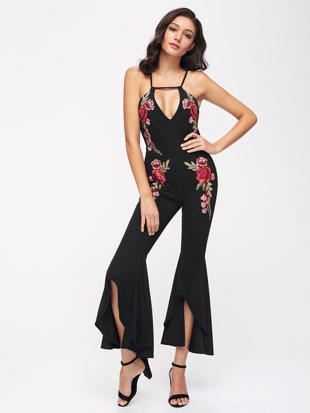 Black Floral Embroidered Cami Straps V-Neck Halter Sleeveless Open Back Frill Trim Leg Jumpsuit