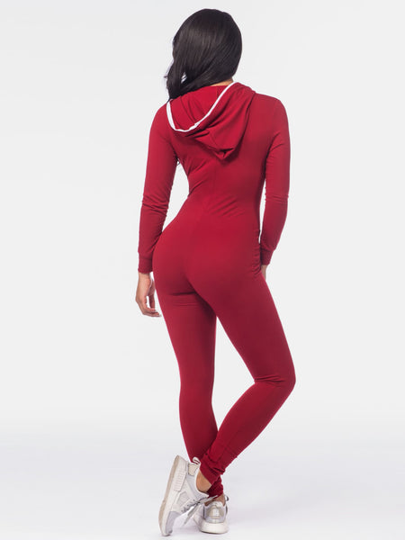 Burgundy Long Sleeve Hooded Zipper Up Catsuit
