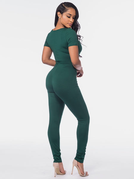 Green Short Sleeve V-Neck Zipper Up Catsuit