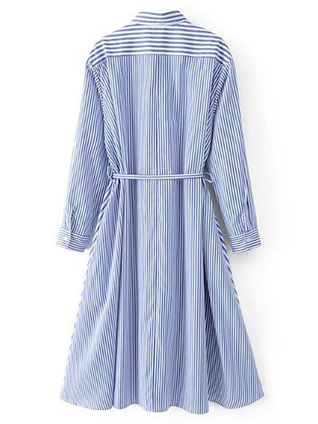 Blue Vertical Striped Long Sleeve Shirt Dress With Self Tie