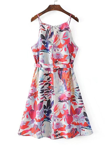 Multicolor Floral Print Sleeveless Tie Waist Cami Dress