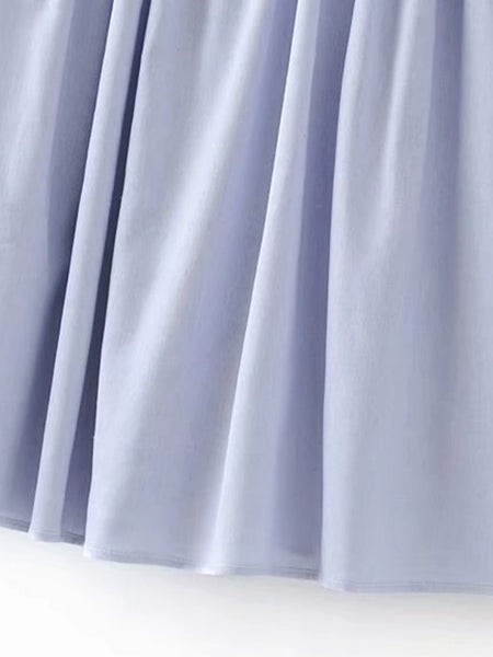 Plain Blue Cold Shoulder With Tie Knot Detail Pleated Dress