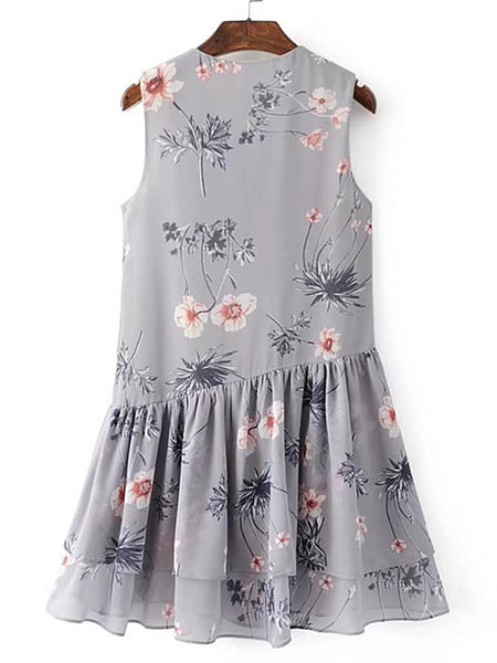 Blue Floral Print Lace Up V-Neck Sleeveless Ruffle Tiered Dress