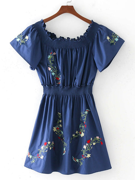 Blue Boat Neckline Elastic Shirred Waist A Line Dress
